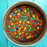 M&M cookie pie